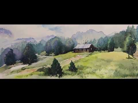Watercolor Mountain Landscape Painting Tutorial Step By Step