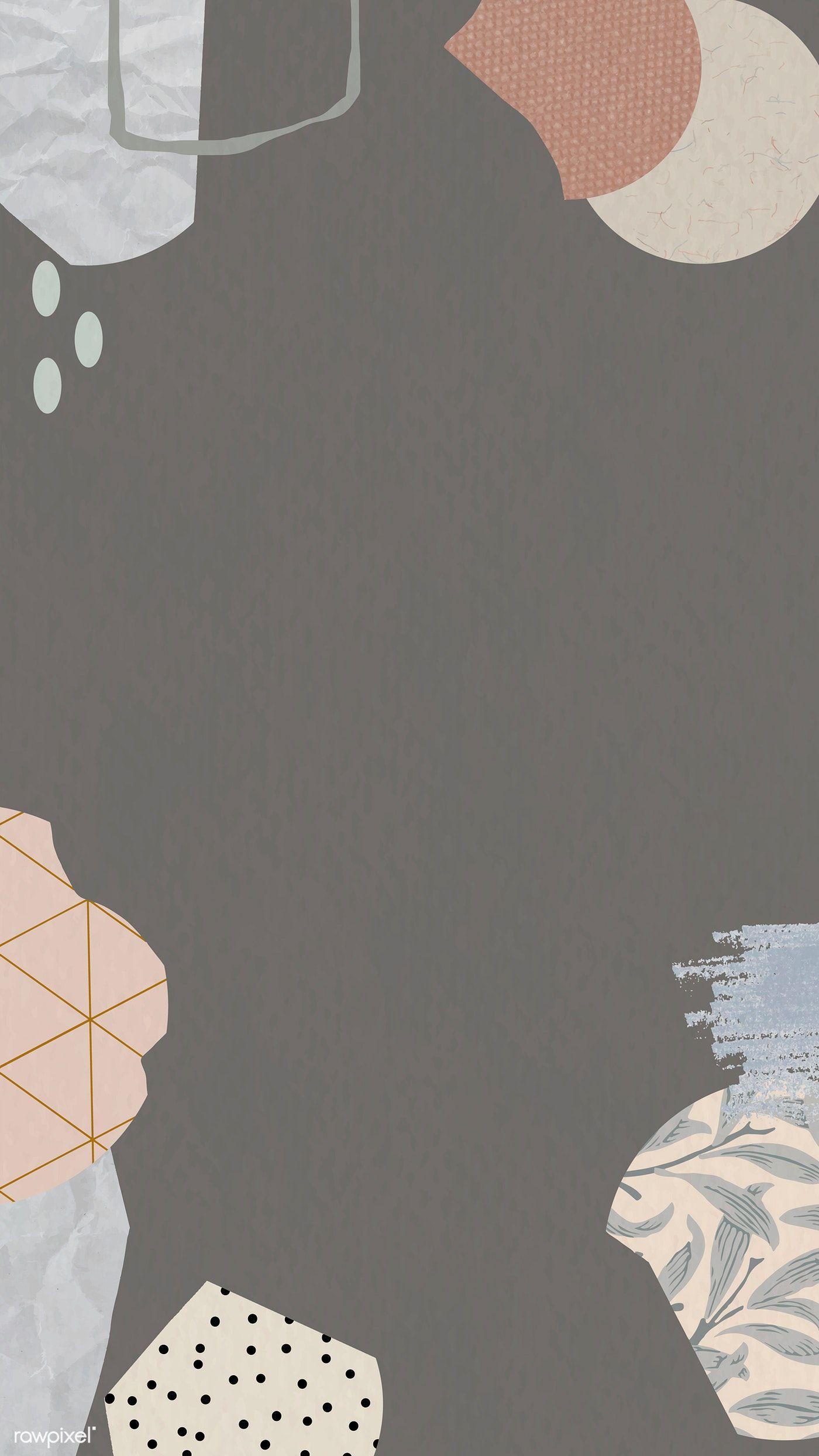 Download premium vector of Brown terrazzo patterned mobile phone wallpaper