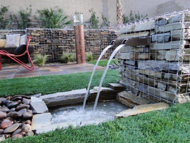 Wasserspiele-Garten-Gabionen-Brunnen-Wasserfall-Teich | Garten ...