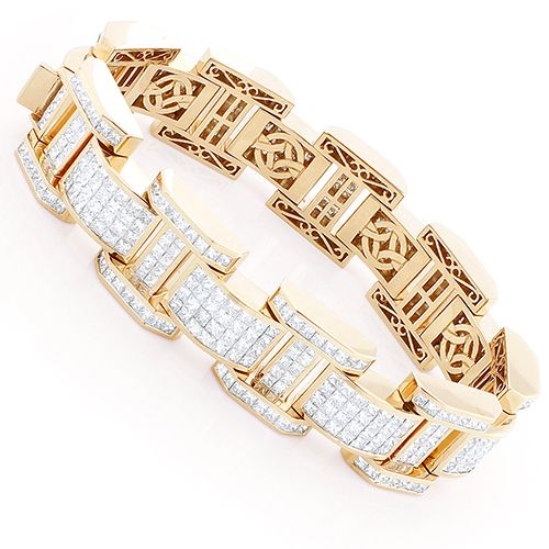 Unique Mens Invisible Set Princess Cut Diamond Bracelet 39ct 18k Rose Gold