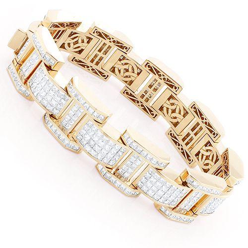 Unique Mens Invisible Set Princess Cut Diamond Bracelet 39ct 18k Rose Gold