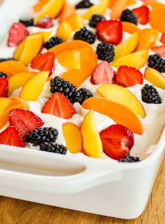 Easy Summer Cake with Fruit Cream Recipe Dessert recipes Easy