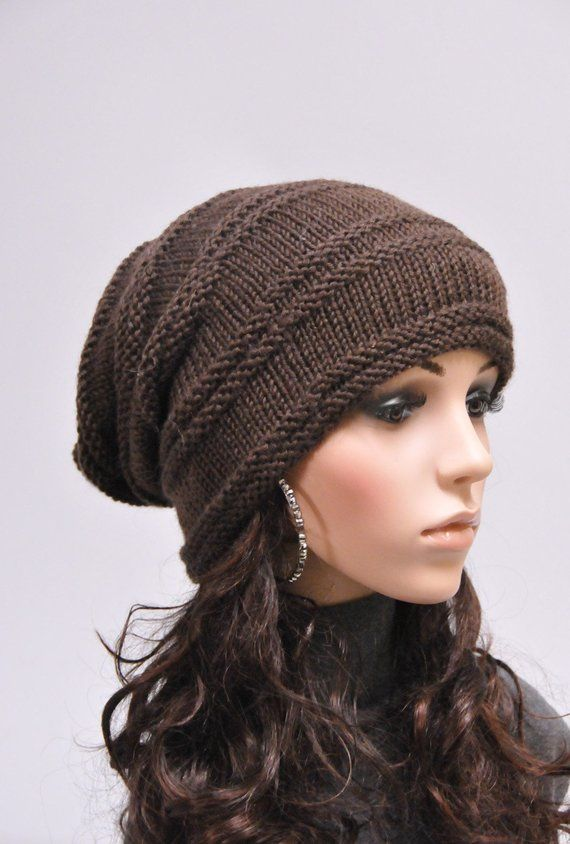 c5d0a4ebf22 Hand knit hat winter hat woman unisex hat slouchy Chunky brown Wool Hat - ready to ship