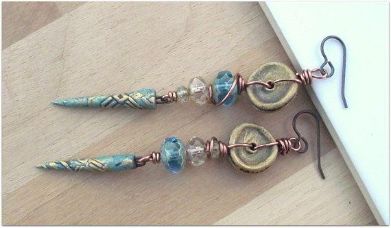 Skinny spikey earrings, long earrings on Etsy, £36.00