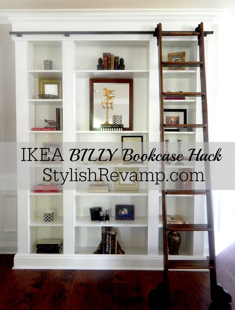 Brown Library Ladder Ikea For Home Furniture Ideas Ikea Billy Bookcase Hack Ikea Bookcase