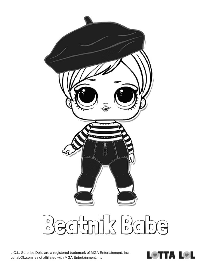 Beatnik Babe Coloring Page Lotta