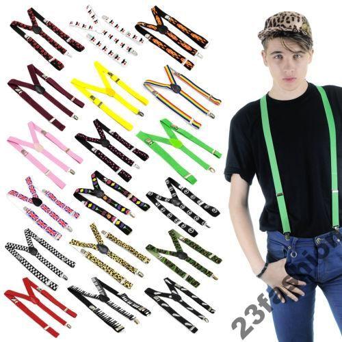 ZEBRA Braces Suspenders Adjustable Slim Unisex Men Ladies Trouser Clip On