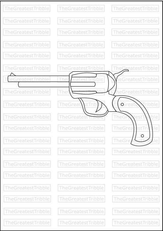 Color + Outline Handgun Pistol SVG PNG JPG Vector Graphic Clip Art