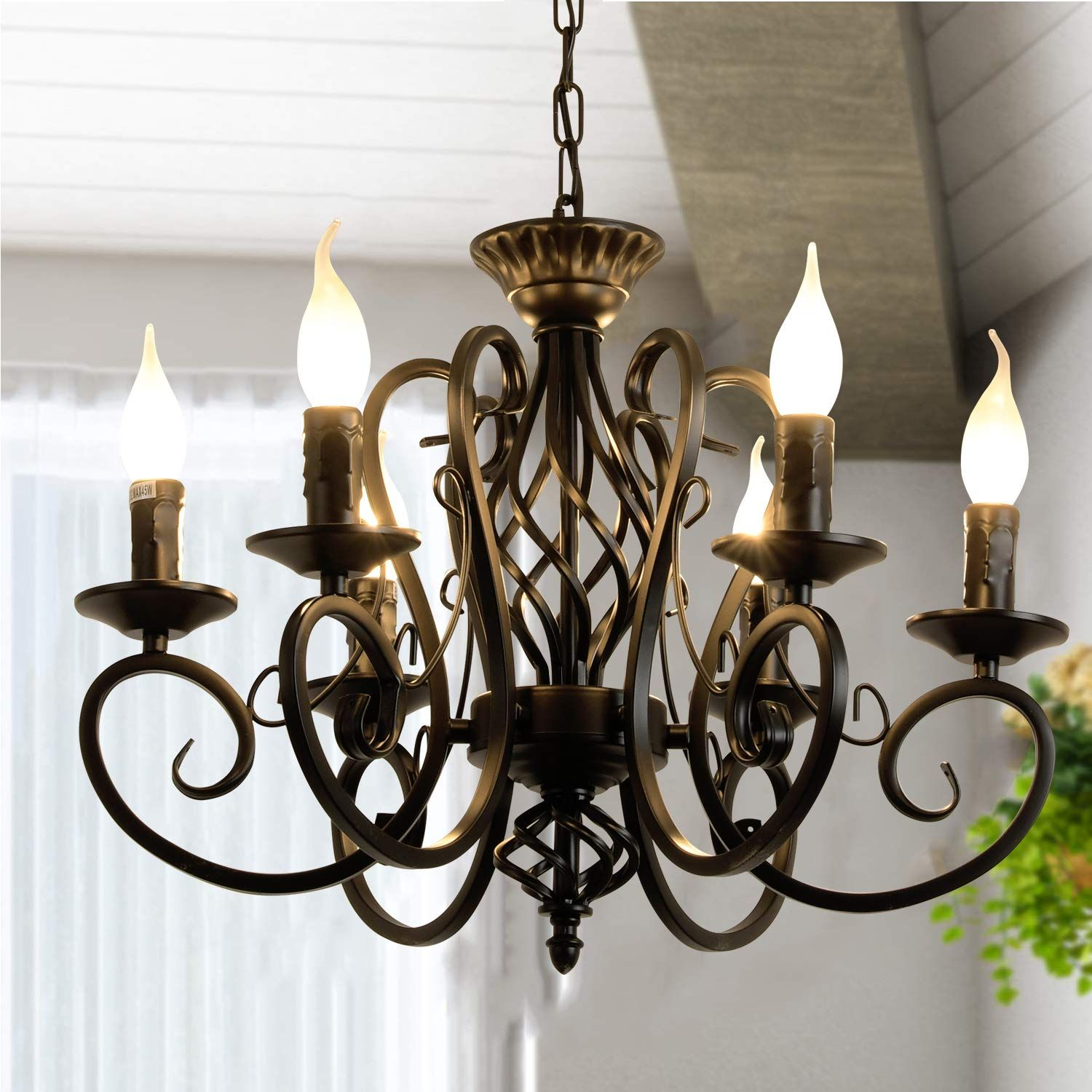 Ganeed Rustic French Country Chandelier 6 Lights Farmhouse Candle Iron Chandeliers Vintage Metal In 2020 French Country Chandelier Country Chandelier Iron Chandeliers