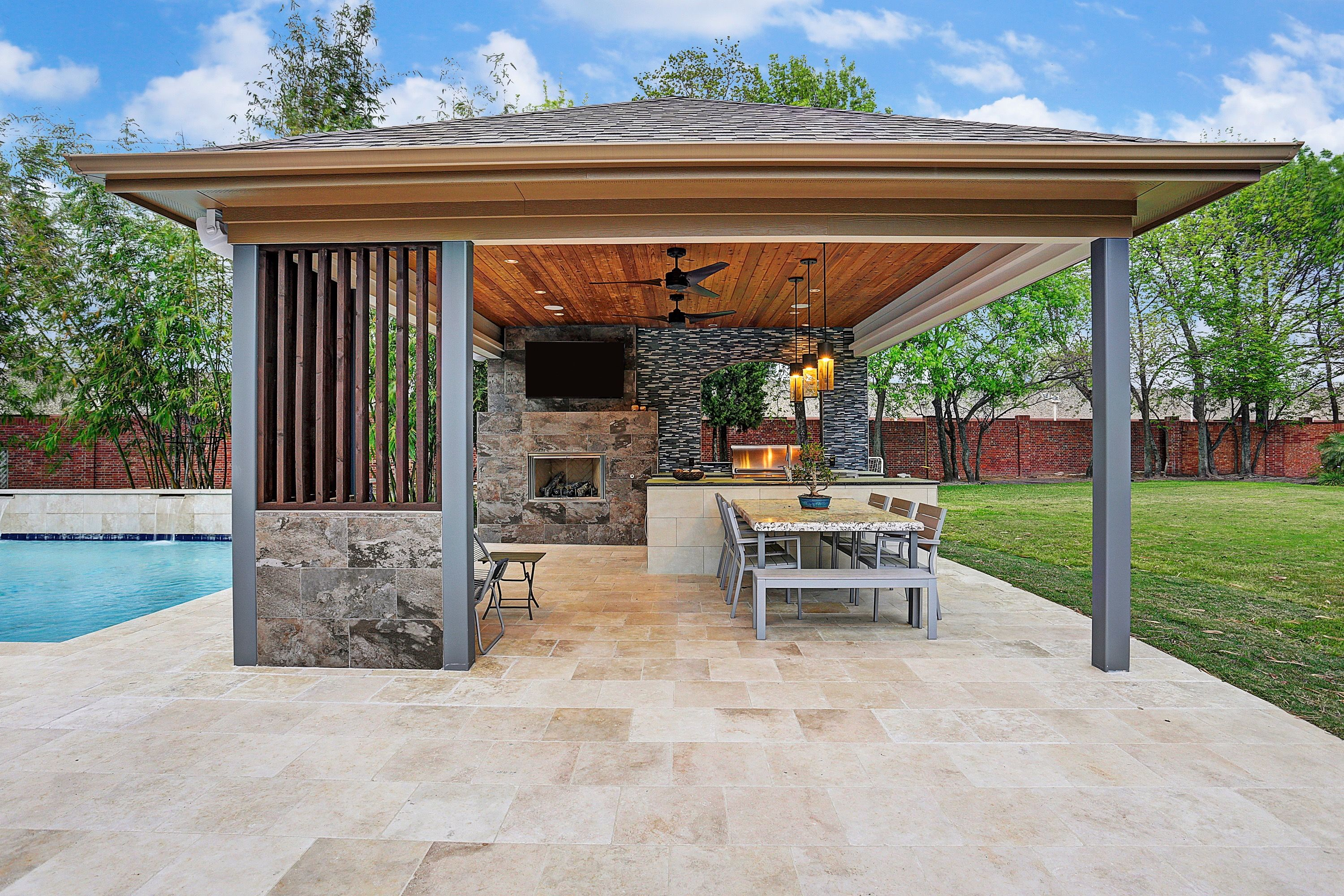 Free Standing Patio Cover Pool House Outdoor Living Outdoor Kitchen Tongue And Groove Ceiling Contemporary Outdoor Fire Patio Patio Design Outdoor Living