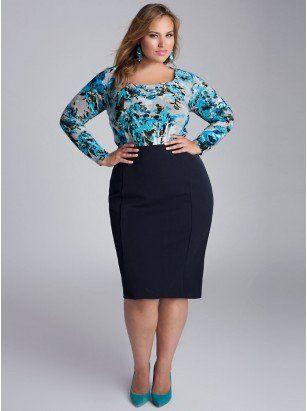 Monroe Plus Size Skirt in Navy Blue - Plus Size Intro to Fall by IGIGI