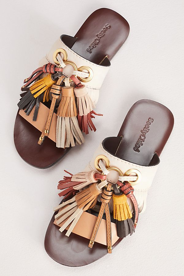 Tasselled leather slides See By Chlo BfuNrbe