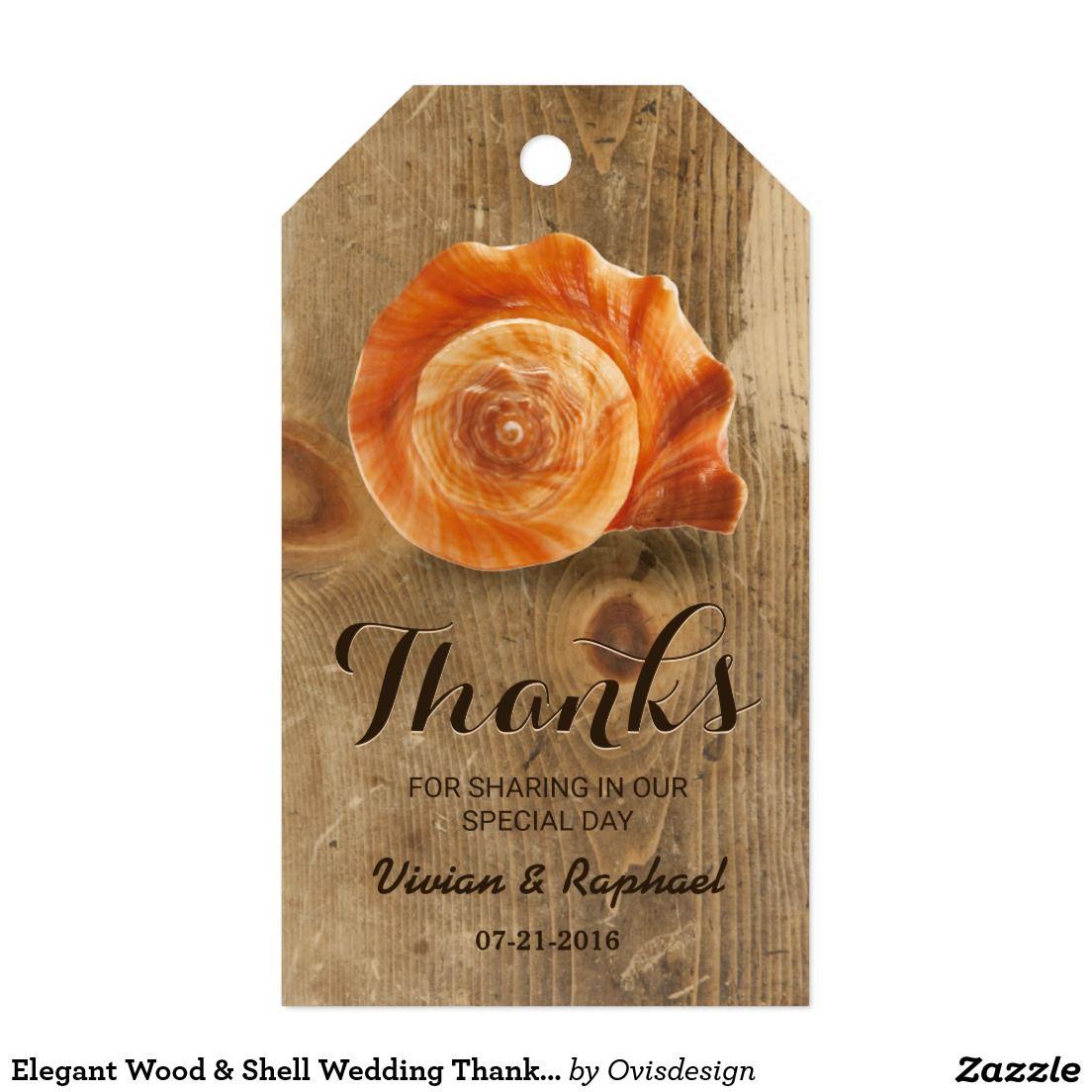 Elegant Wood u0026 Shell Wedding Thank You