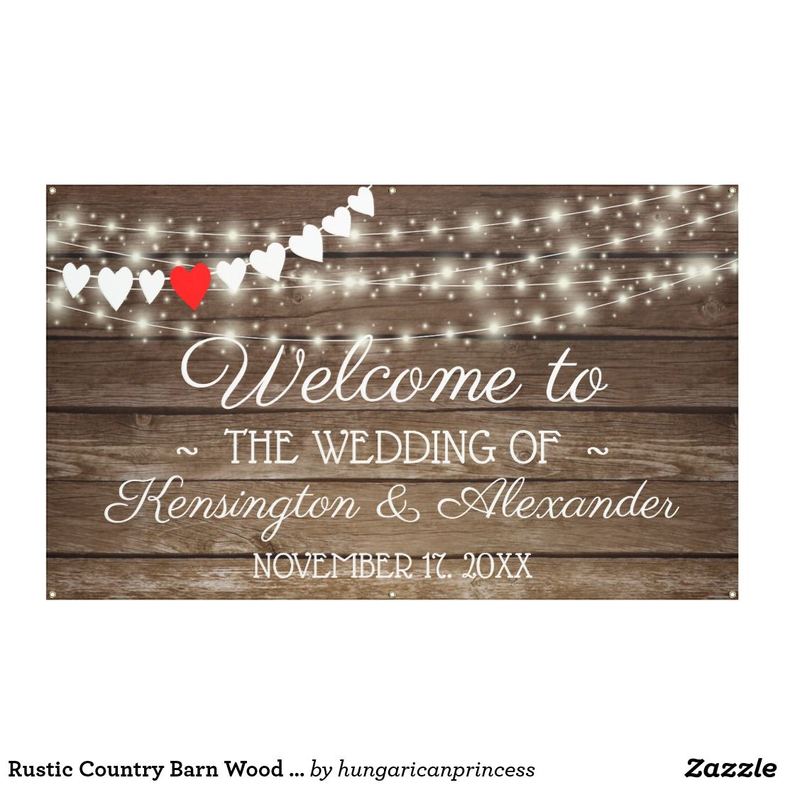 Rustic Country Barn Wood String Of Lights Wedding Banner in