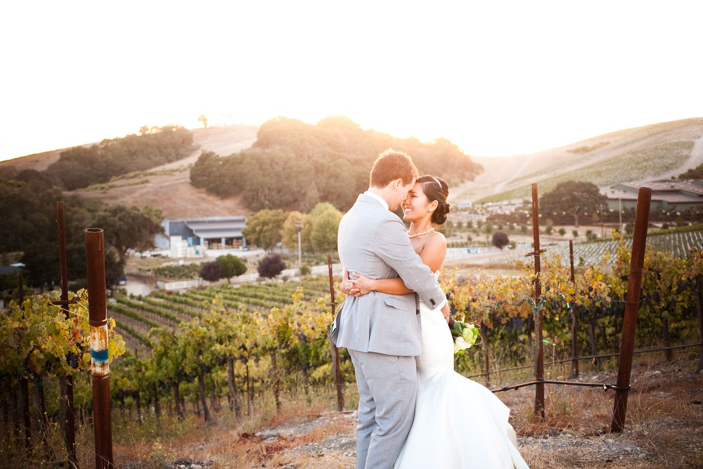 wedding - california - winery wedding - sunset - green flowers - destination wedding