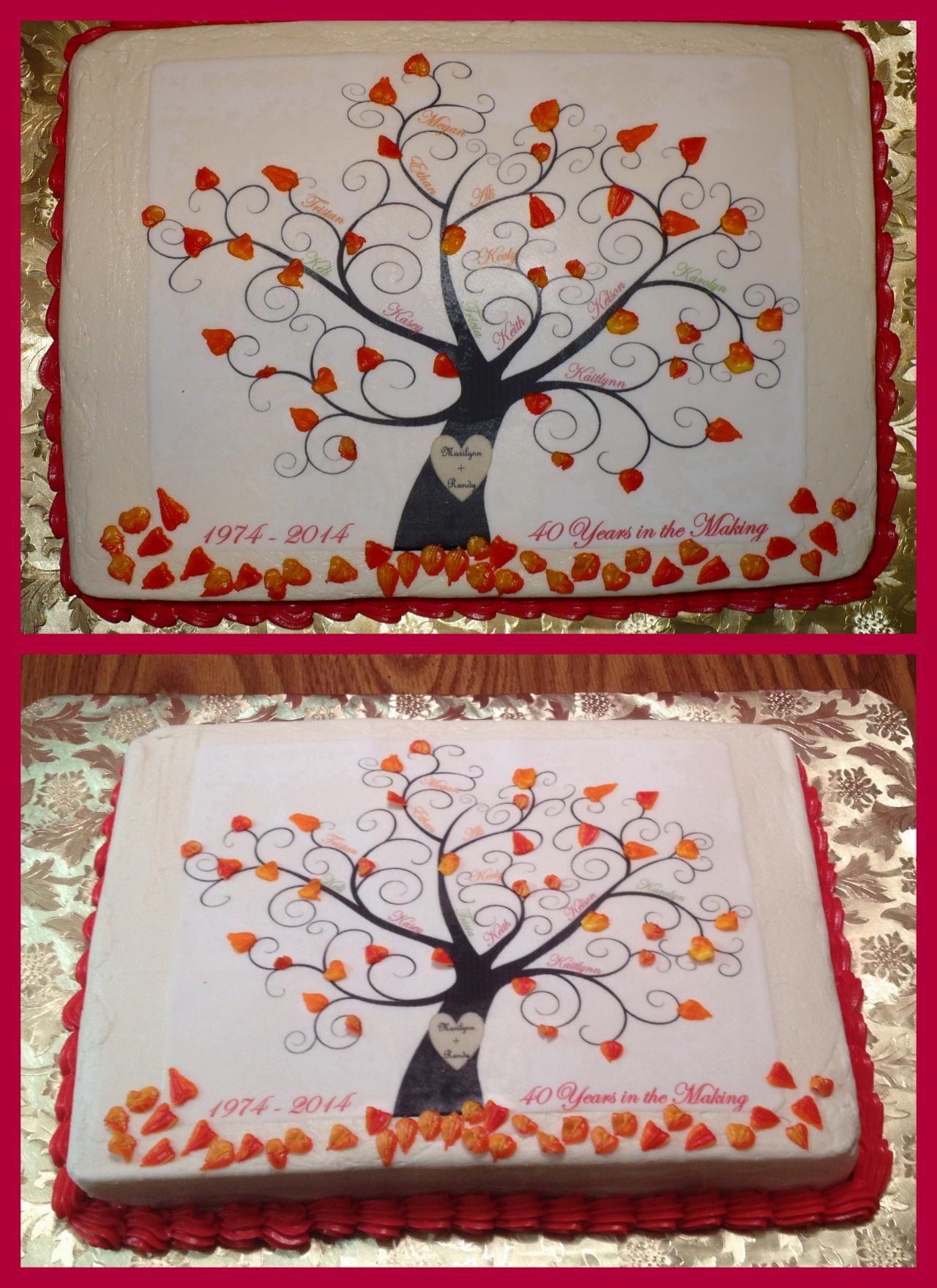 Family Tree 40th Anniversary Cake