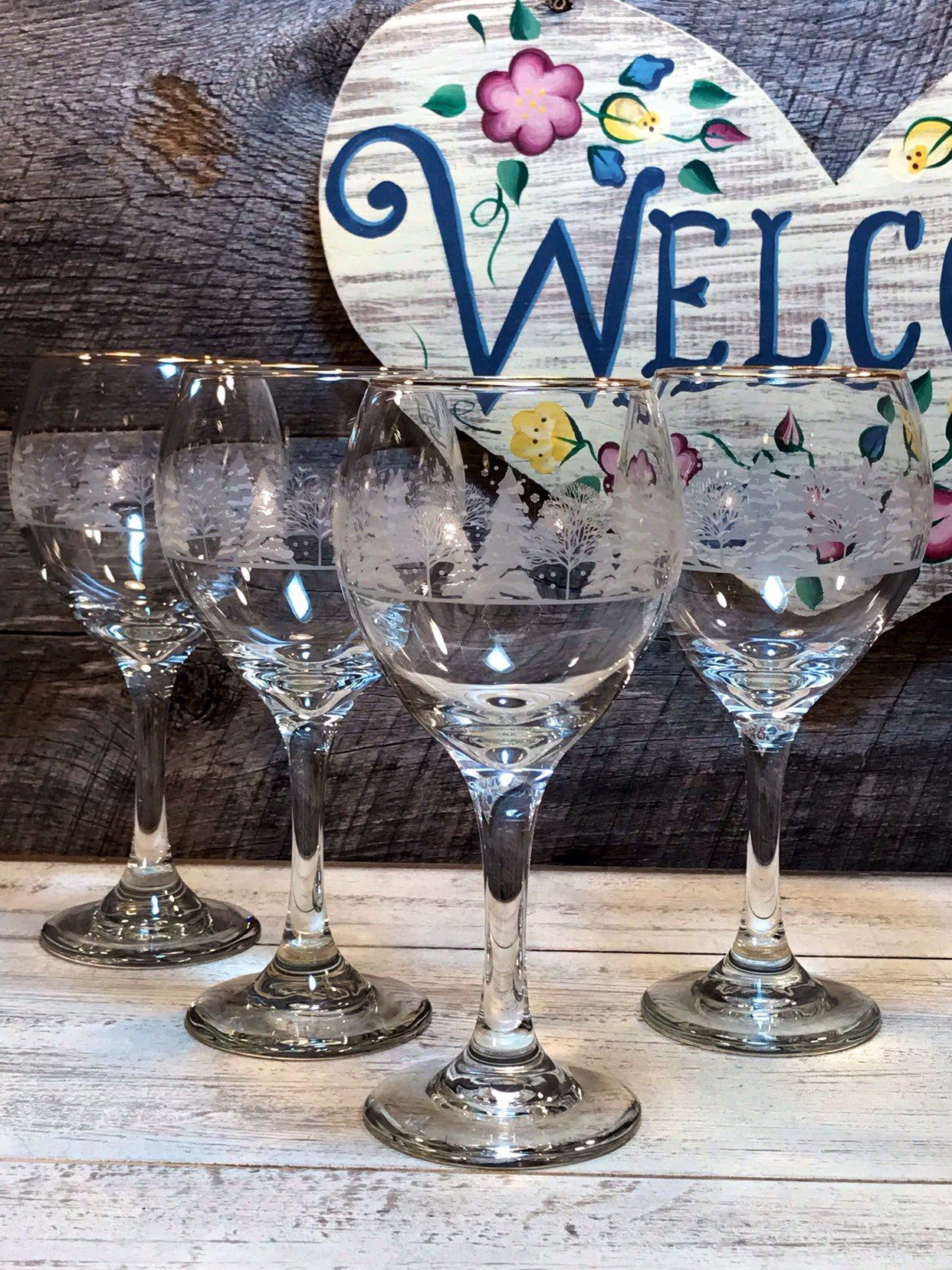 4 Libbey Arby/'s Tumbler Glasses Frosted Etched Christmas WINTER TREES Gold Rim