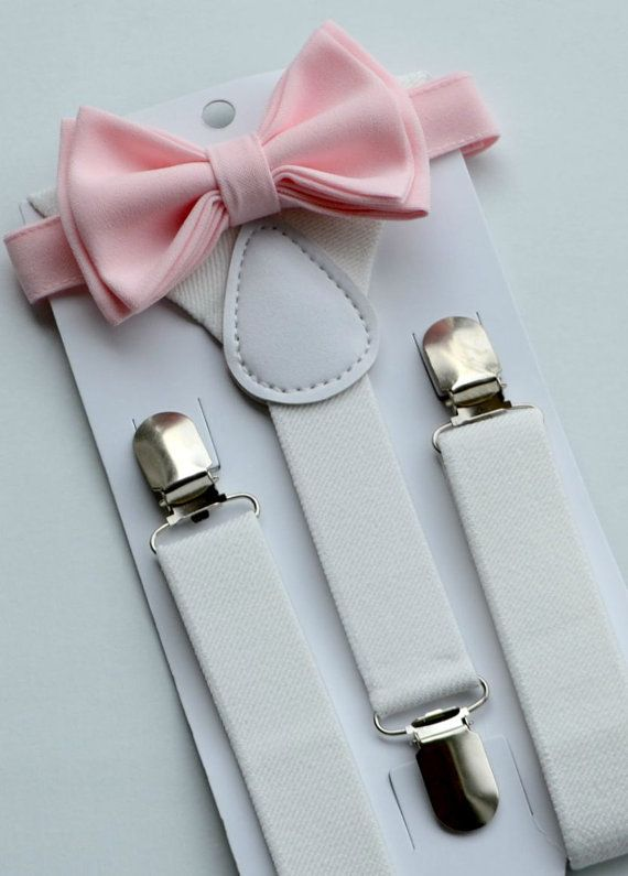 This stylish PALE PINK BOW TIE & WHITE SUSPENDERS are ...
