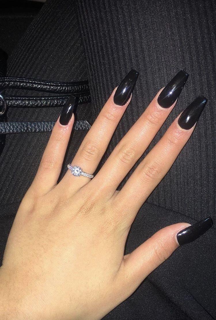 Self Made Black Acrylic Nails Ballerina Shape Extra Long Black Acrylic Nails Acrylic Nail Shapes Coffin Shape Nails