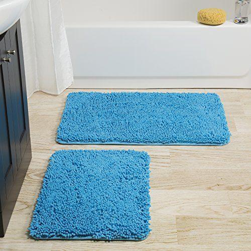 Bedford Home 2 Piece Memory Foam Shag Bath Mat Blue Bath Mat