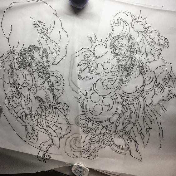 Working Tattoo Tatuaje Serieztattoo Fujin Raijin Japanese Japanesetattoo Irezumi Japanese Tattoo Japanese Tattoo Art Japanese Tattoo Designs