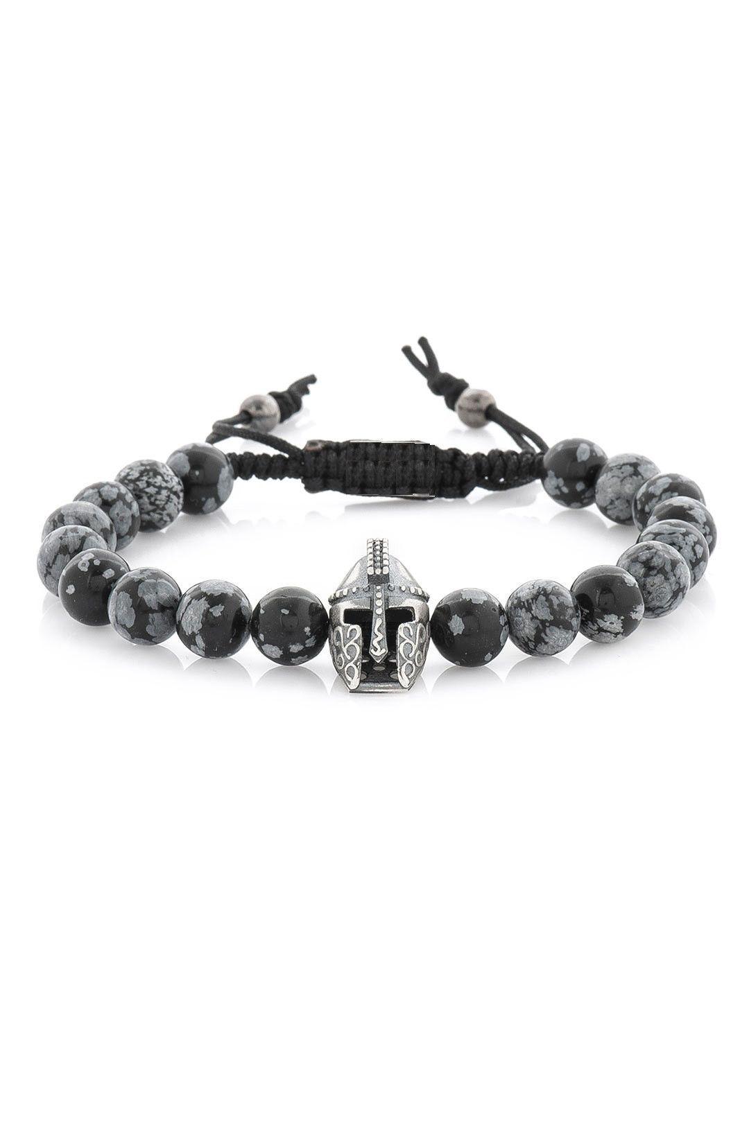 Mens Bracelet, Mens Silver Bracelet, Spartan Helmet Bracelet,lava  Stone,obsidian Stone