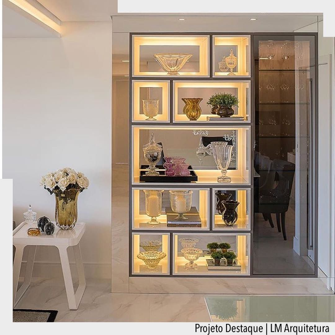 Estante Iluminada Super Charmosa Salas Pinterest Charmosa  -> Armario Estante Para Sala De Jantar