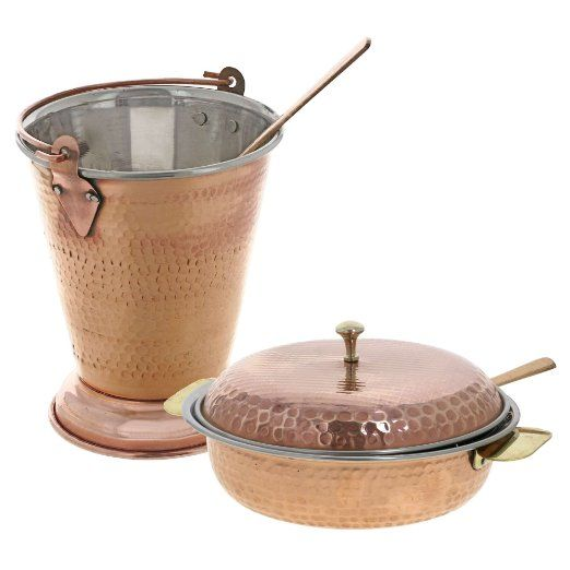 Traditional Indian Serveware Copper Bucket And Serving