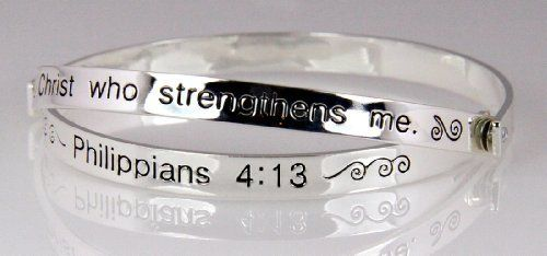 4030467 Scripture Bangle Bracelet Religious Philippians 4 13 Bracelets 9 99 Beautiful Gift Box Included Fashionable Design