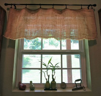 Shabby Chic Country Cottage Chic Farmhouse Rustic Burlap Window Valance W  Fringe