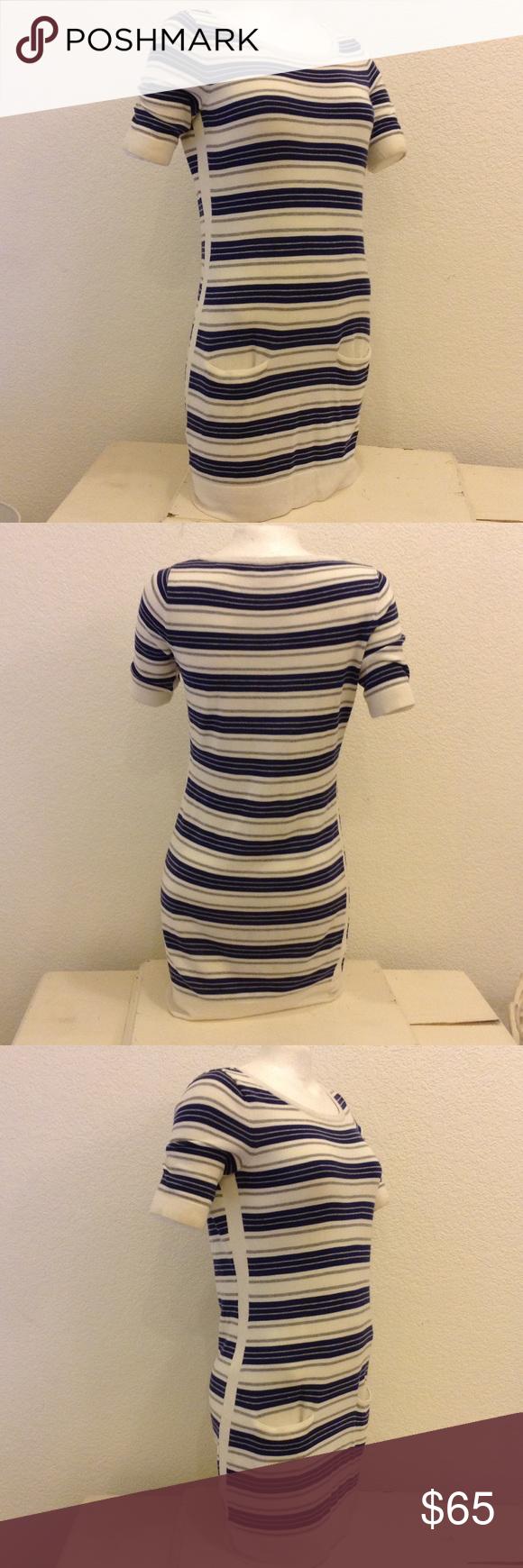 "Rag & Bone Striped Knit Dress Navy, gray and Ivory striped dress, short sleeves, front pockets, side stripe panel, 34"" long. rag & bone Dresses"