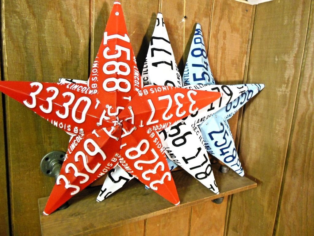Red White and Blue Upcycled License Plate Barn Star Modern Illinois plates Rustic Repurposed by GreaseMonkeyInc on Etsy https://www.etsy.com/listing/176184067/red-white-and-blue-upcycled-license
