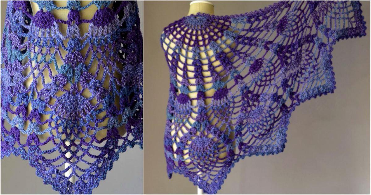 Pineapple Crochet Peacock Shawl Free Pattern In Pdf Pineapple