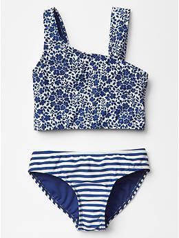 Mix-print asymmetrical swim two-piece - http://AmericasMall.com/