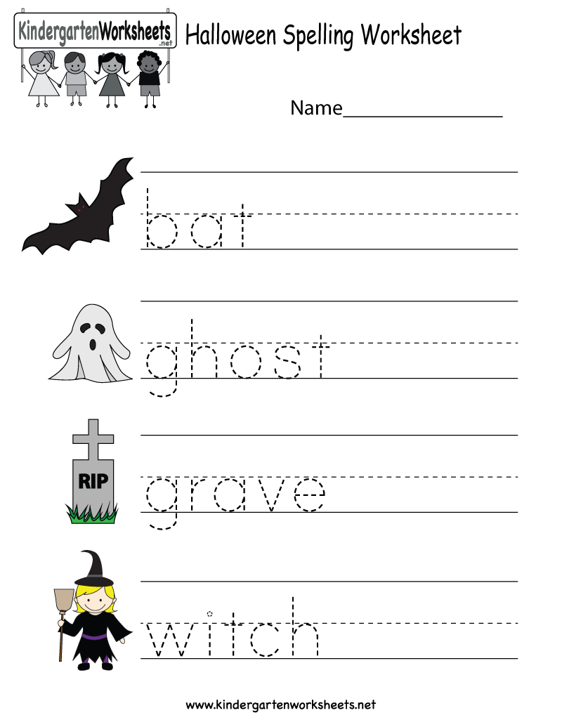 Worksheets Halloween Worksheets kindergarten halloween spelling worksheet printable free holiday for kids