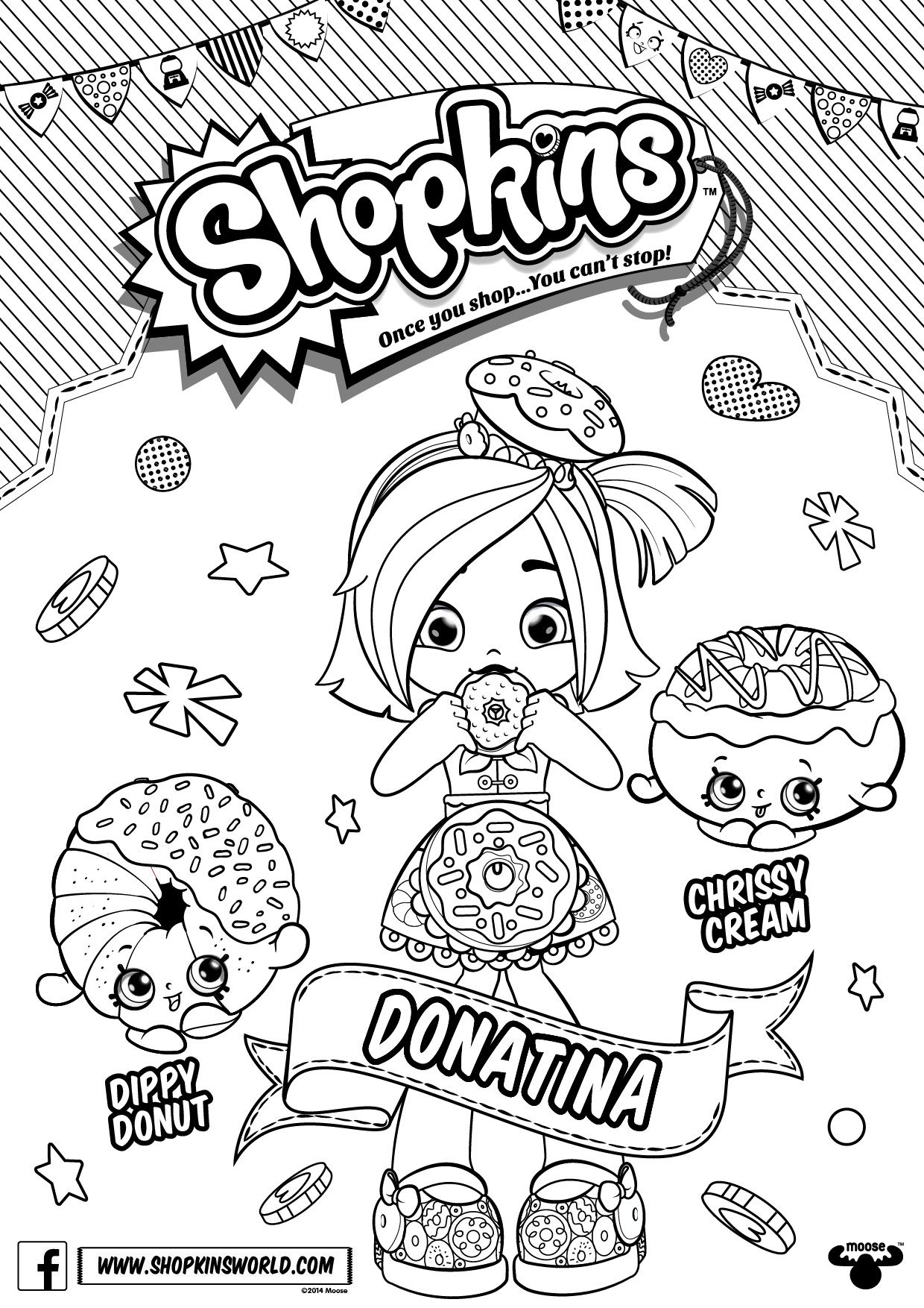 Shopkins Doll Chef Club Colour In Donatina  C B Shopkins Party Ideasdollclub Raspberryphotographycoloringfotografiepuppetraspberries