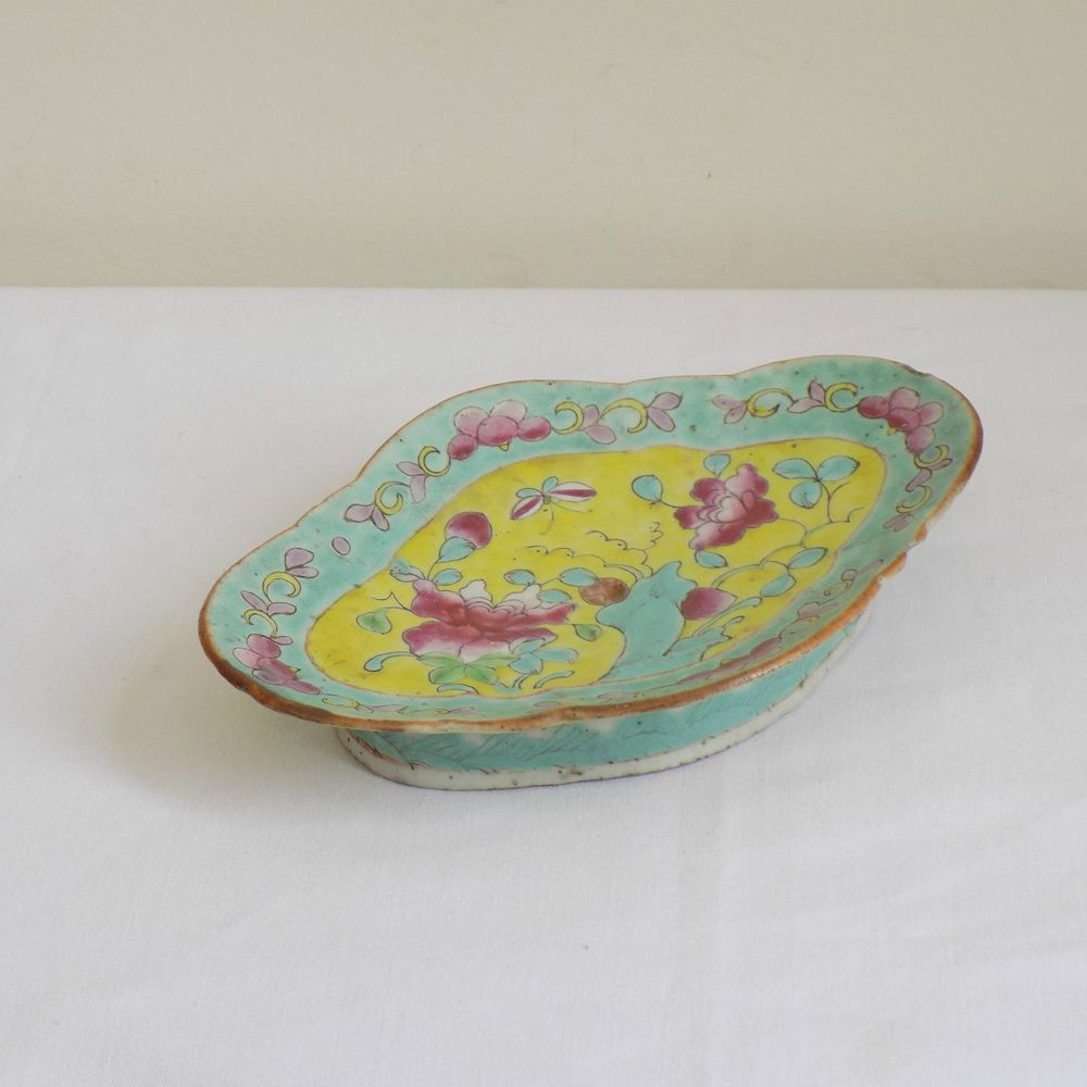 Antique Chinese Famille Rose Porcelain Footed Dish Enamel Painted Turquoise Antiques Chinese Antiques Hand Painted