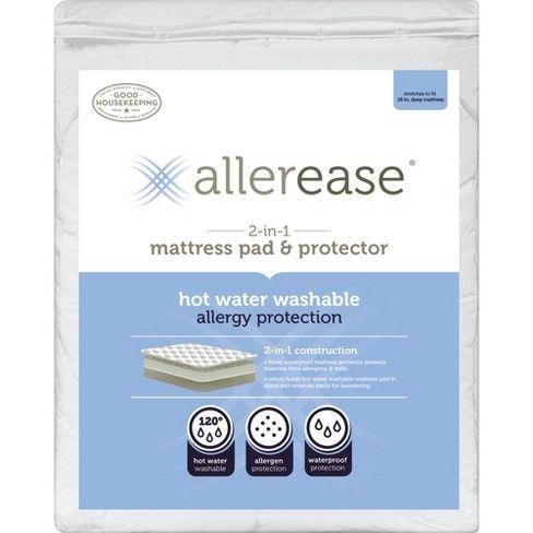 Allerease 2 In 1 Waterproof Allergy Protection Mattress Pad White Queen In 2020 Mattress Pad Waterproof Mattress Pad Allergy Protection