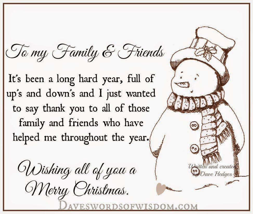 merry christmas to family and friends quotes