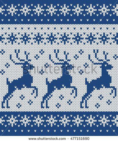 Norwegian Sweater Deer Snowflake Seamless Knitting Pattern Cross