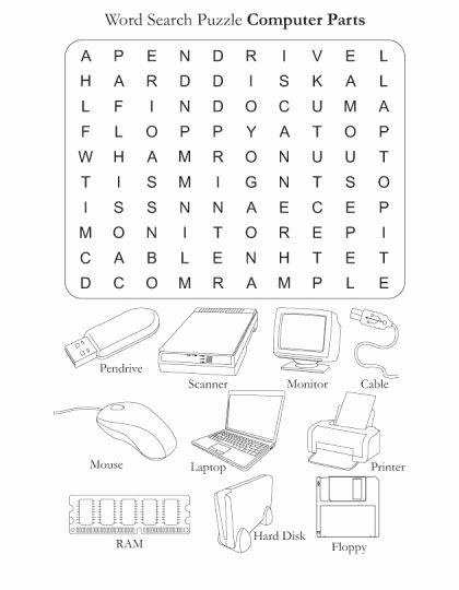 Computer Parts Worksheet for Kindergarten