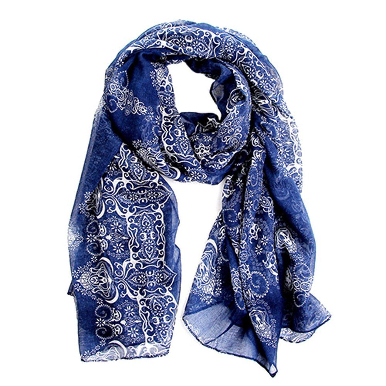 4da737e0645 Echarpe Foulard Long Doux Mode Nouveau Chaud Automne Hiver pour Femmes  (Bleu Foncé)  Amazon.fr  Vêtements et accessoires