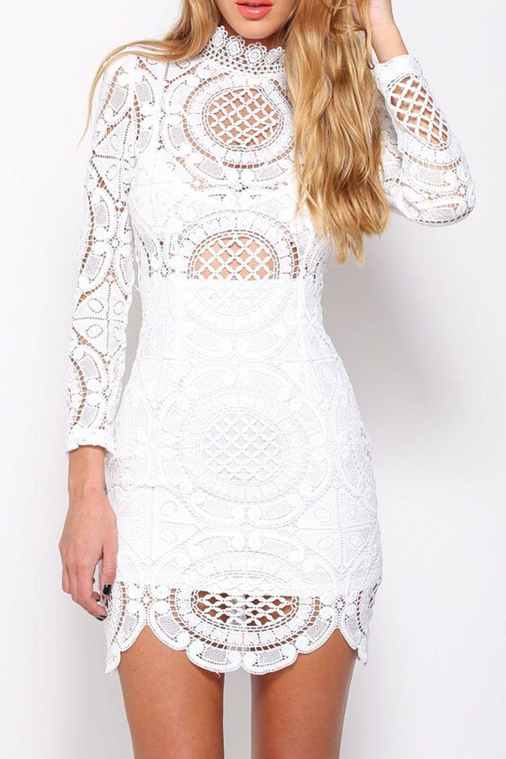 White Crochet Lace High Neck Mini Dress Oasap