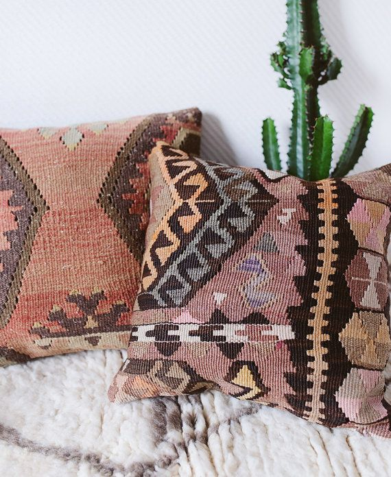 Vintage Turkish Kilim Pillow Cover 16 x 16 The by LoomAndField