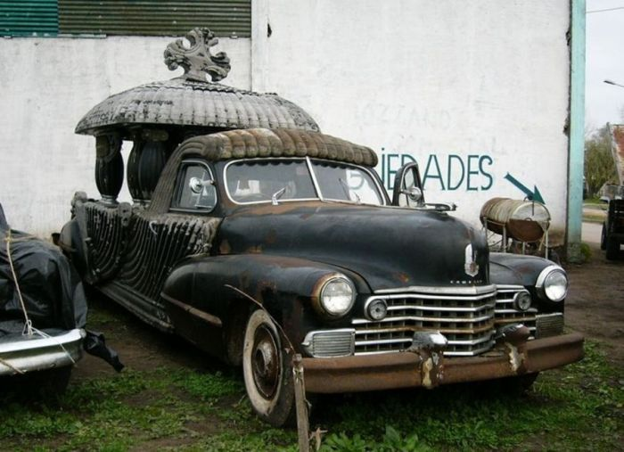 These amazing hand carved funeral Cadillacs were discovered by accident in an antique barn in Argentina by Fernando Aguerra.