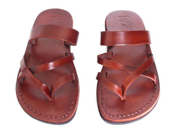 Brown Genuine Leather Sandals for Women, Women's Shoes, Flip-Flops, Flats, Slides, Thongs, Comfort Walking, Designer, Ladies, APHRODITE