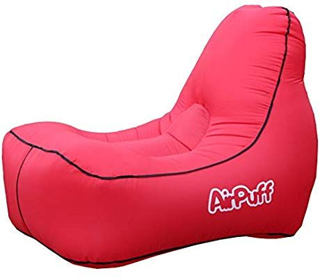 Airpuff Inflatable Lounge Chair Outdoor For Beach Travel Lawn Comfortable Lazy Lounger Portable Red Garden