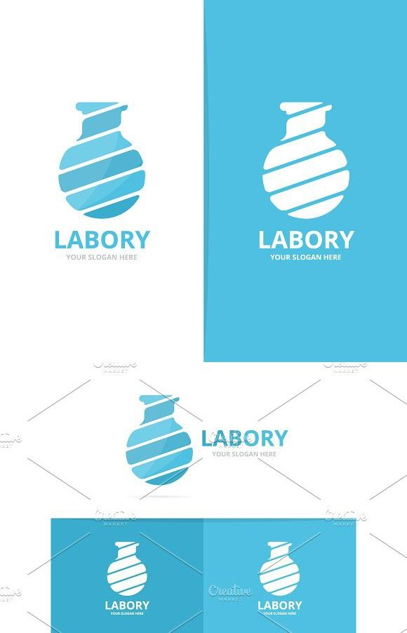 Vector Of Lab Bottle Logo Combination Bulb And Flask Symbol Or Icon
