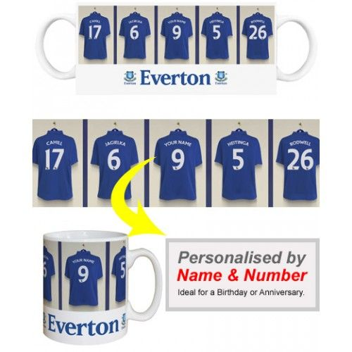 Everton Personalised Player S Mug Appear Alongside Everton Stars Like Rodwell And Jagielka We Merge Your Surname And Football Gifts Everton Gifts For Boys