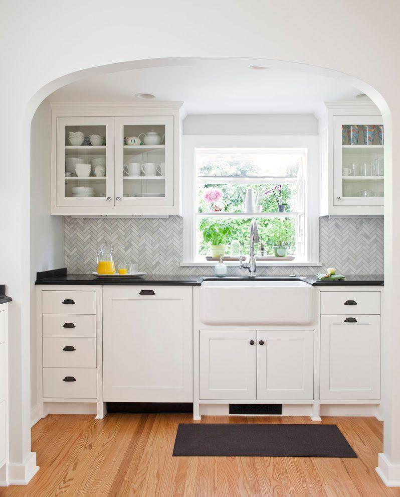 painted shaker cabinet doors. Chevron Backsplash Kitchen Traditional With Red Oak Flooring Shaker Cabinet Doors White Painted Wood O